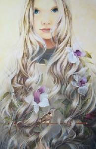 Nina con flores  y pajaro