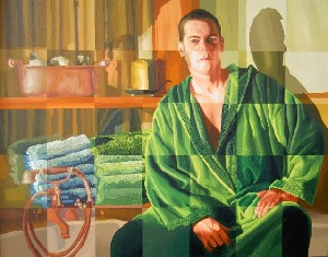 man of bath realistic male painting artwork by raphael perez lgbt painter gay artists