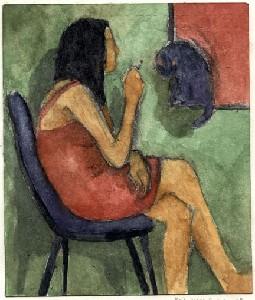 Kloran,F. Michael-Red Dress Green Wall
