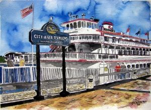 savannah river queen georgia boat art