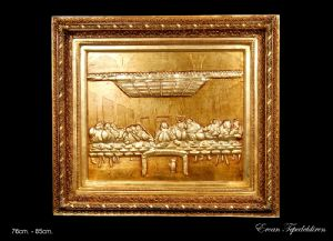 JESUS(LAST MEAL) RELIEF AND GOLD FOIL WORK