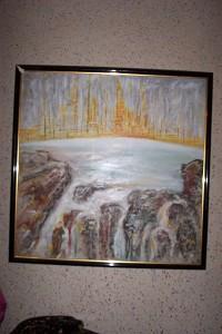 P-yellow city and waterfalls