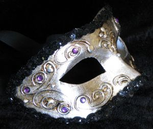 Pewter and purple venetian masquerade party mask made by www.socaldesginco.com