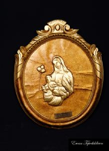 VIRGIN MARY AND JESUS(GOLD FOIL WORK RELIEF)
