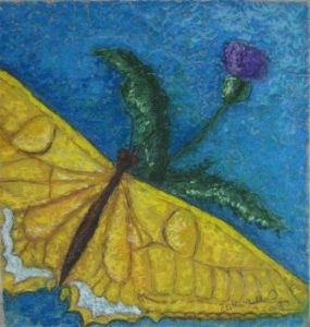 Yellow butterfly with flower