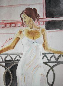 Woman On Balcony-After Fabian Perez