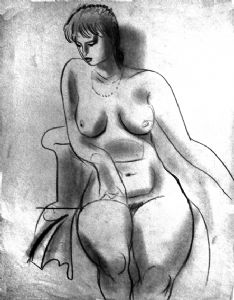 Naked In an armchair.