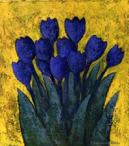 Dark Blue Tulips