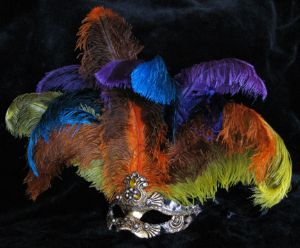 Venetian feather mask, designer cheetah feather mask from www.socaldesignco.com