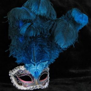 Venetian Feather mask for masquerade, handmade by www.socaldesignco.com