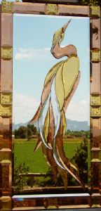 Heron Glass Art and Mirror with 23 karat gold and copper