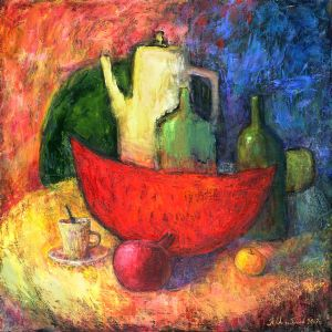 Still life with water-melon and coffee-pot