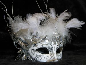 Fancy white designer venetian feather mask made by www.socaldesignco.com
