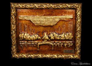 JESUS(LAST MEAL)GOLD FOIL WORK RELIEF