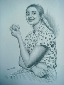 A lady with an apple