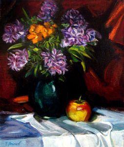 Purple flowers hiacinths and an apple. Nature morte.