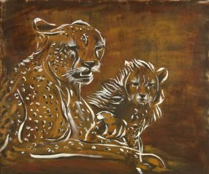Cheetah and Cub Abstract