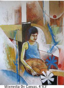 CANE BASKET ( Mixmedia On Canvas )