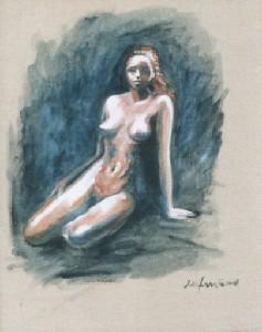 donna su fondo blu