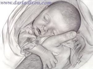 Brianna Safe in Daddy's Hands pencil portrait