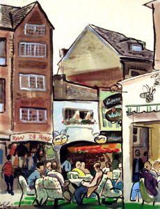 Germany. Dusseldorf. Street cafe