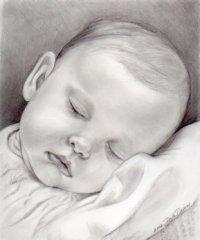 Baby Sleeping Pencil Portrait