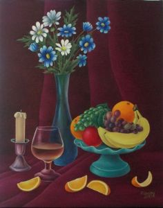 Still life on burgundy background