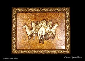 THE HORSES(GOLD FOIL WORK RELIEF)