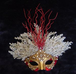 Fire and Ice themed venetian masquerade mask www.socaldesignco.com