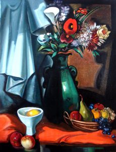 White and orange  flower in a green vase. Nature morte.