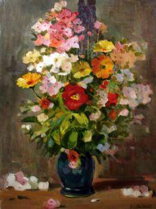Aminov,Faizulla-Orange flowers in blue vase.