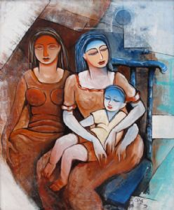 MOTHER & SISTER & CHILD ( Acrylin On Canvas )