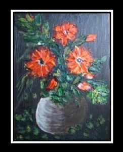 Oil painting on canvas - flowers vase