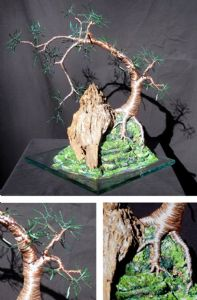 Cascade on Glass - Wire Tree Sculpture, by Sal Villano