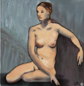 TRADITIONAL MODERN FEMALE NUDE SEATED - after Modigliani