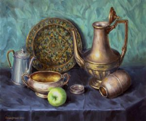 Still-life with the metal dishes