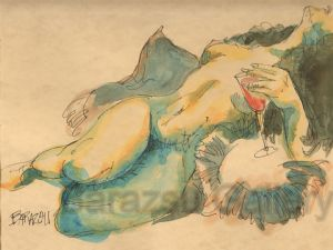 Barazsu,Dave-Nude Woman With Wine Glass