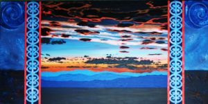 Blue Sunset with Koru Pattern