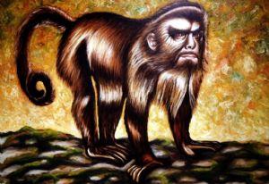 Apella monkey with selfportrait