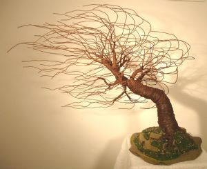 Mighty Wind Swept - Wire Tree Sculpture, by Sal Villano