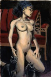 NUDE FEMALE Woman Kneeling with Cats