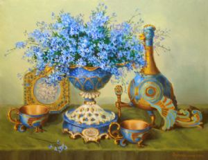 Forget-me-nots in a porcelain vas