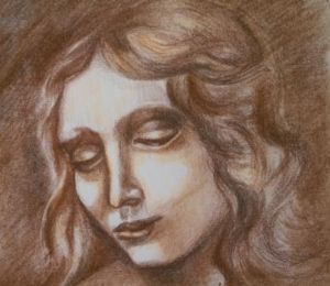 Schindler,Tzipi-Portrait drawing of a woman brown pastel and black charcoal on heavy paper