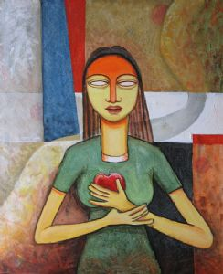 GIRL WITH APPLE  ( Acrylic On Canvas )