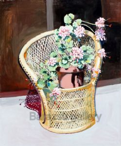 Flowers In Wicker Chair