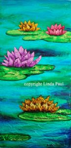 Paul,Linda-Water Lilies - Contemporary Painting by Linda Paul