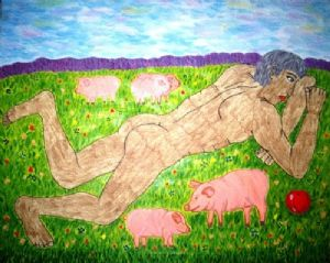 DONSKOVA,Artblood-PICTURES BY OWN BLOOD.  BOY lying on the grass.