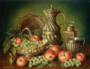 Still-life with red apples