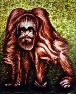 Orangutang with selfportrait
