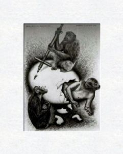 Chimpanzees with selfportrait